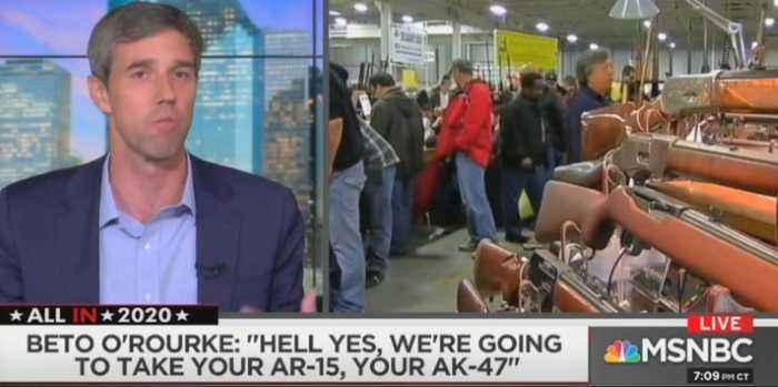 Robert Francis Beto O'Rourke says Texans would cheerfully give up their guns