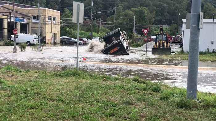 Web Extra: Water Main Break Floods Hays Roads