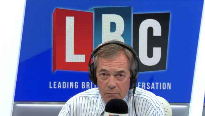 Nigel Farage Argues With Caller Who Says Boris Johnson 'Stormed Off In A Huff'