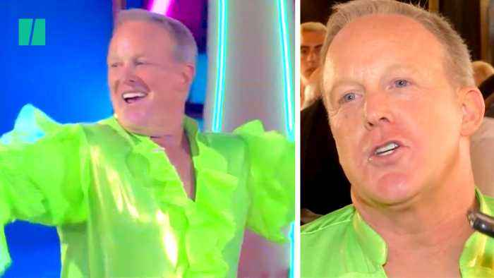 Sean Spicer Rocks Neon-Green Frilled Shirt For Dancing With Stars Debut