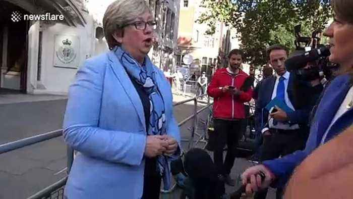 SNP MP Joanna Cherry interviewed by press outside the UK Supreme Court on day two of hearing on prorogation of Parliament