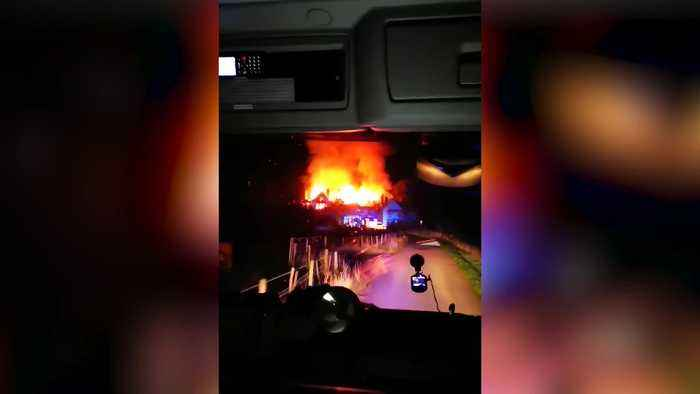 Footage shows Edwardian mansion on fire