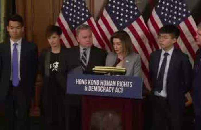 'We stand as one': Hong Kong activist with Pelosi