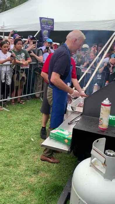 Joe Biden Grilling Steaks