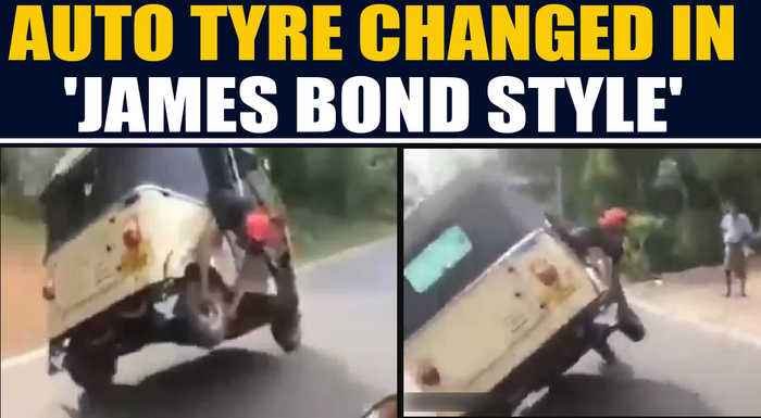 Auto Driver changes tyre in 'James Bond style', video goes viral