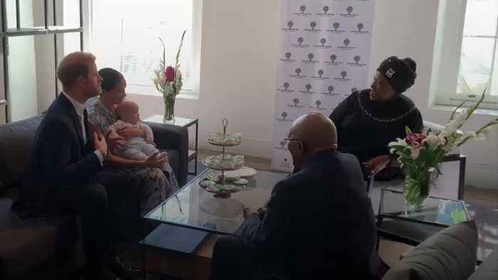 Meghan and Harry take baby Archie to meet Desmond Tutu