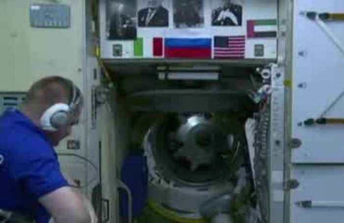 The space station welcomes a trio of new astronauts