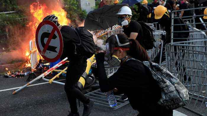 Hong Kong police break up protesters with force