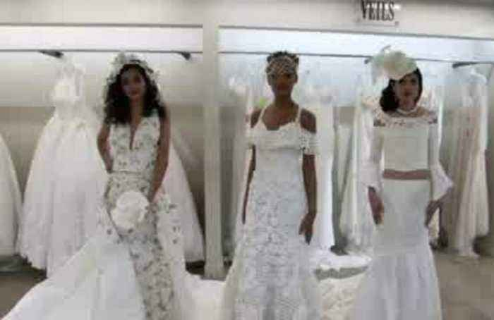 Take a look at the wedding dress made from crocheted toilet paper