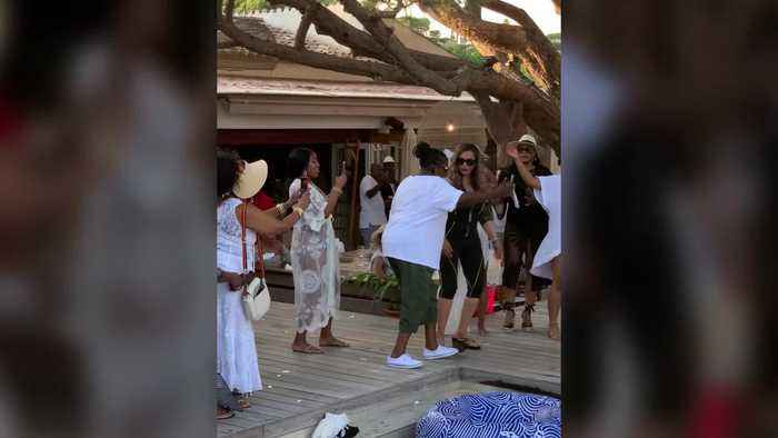 Beyonce's mother Tina Knowles strutted her stuff at Magic Johnson's star-studded 60th birthday bash in St Tropez