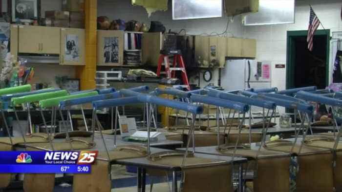 Sprinkler Floods Hancock Middle School after Fire