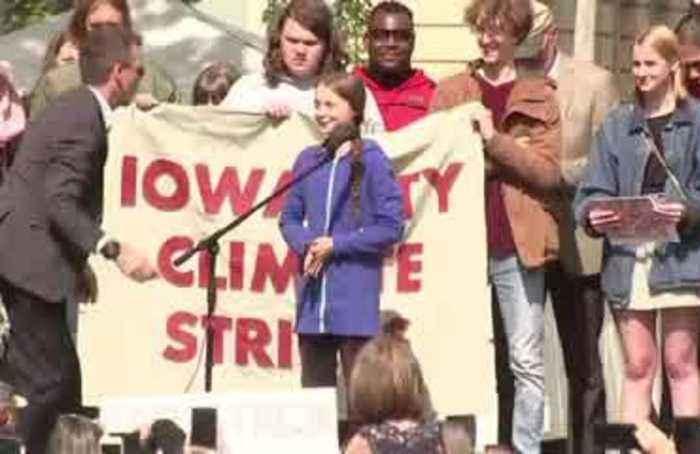 Greta Thunberg takes swipe at world leaders in Iowa