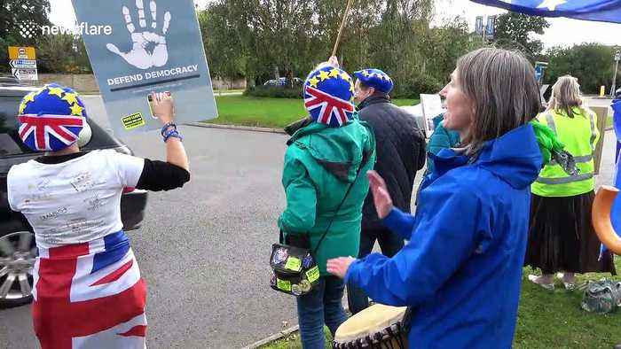 Protesters demonstrate at David Cameron book signing in Cheltenham