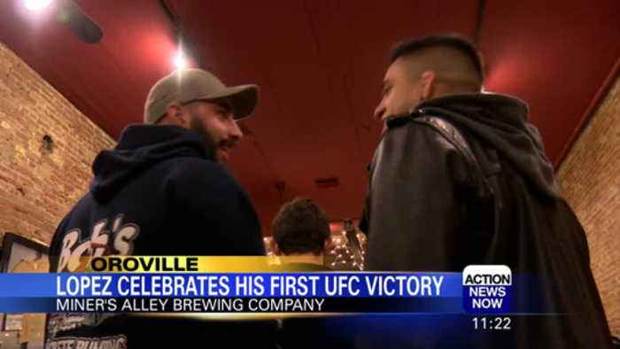 Benito Lopez celebrates his first UFC victory