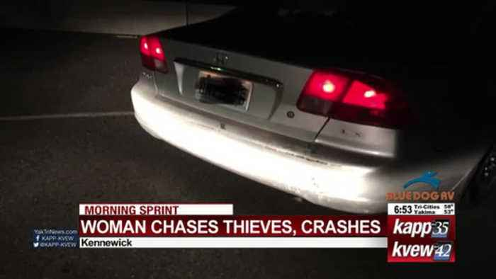 Woman chases thieves, crashes