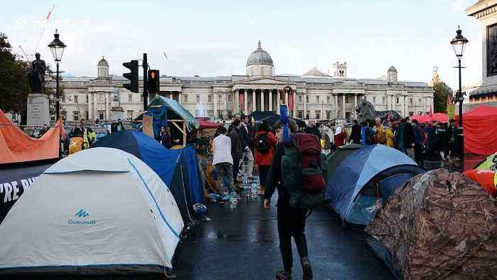 Extinction Rebellion protestors set up camp in London's Trafalgar Square