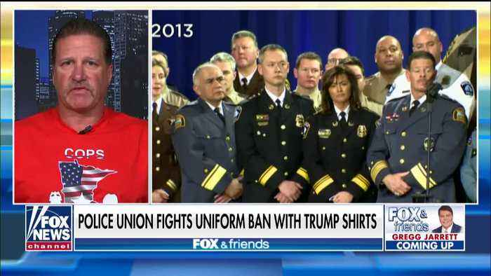 Minneapolis police officers wearing Trump shirts to rally