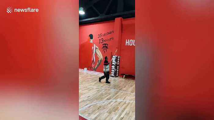 Houston Rockets logo covered at basketball court in China following pro-Hong Kong tweet controversy