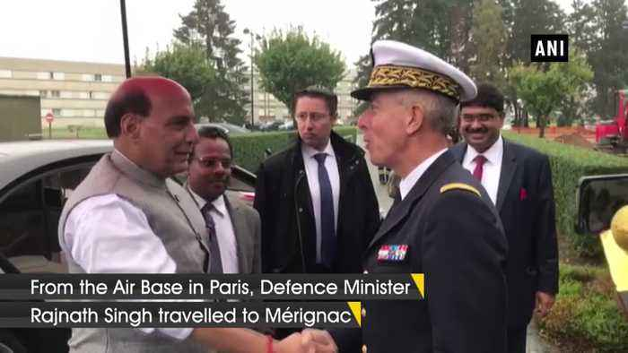 Defence Minister Rajnath Singh boards French military aircraft in Paris
