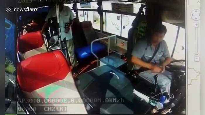 Elderly Chinese man attacks bus driver after he refuses to let the passenger off