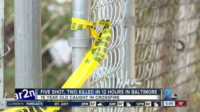 Five shot, two killed in 12 hours in Baltimore