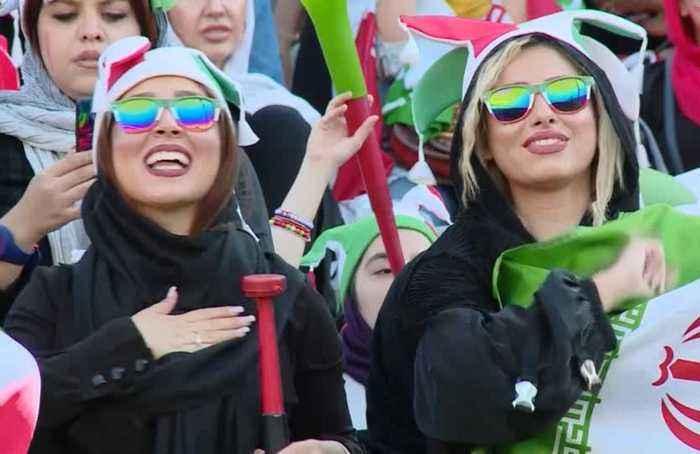 Women fans celebrate as Iran thrash Cambodia