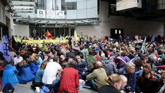 Extinction Rebellion protesters in London demand interview with BBC
