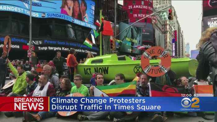 Dozens Arrested After Climate Change Protesters Disrupt Traffic In Times Square