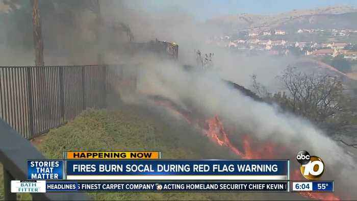Fires burn in SoCal during dangerous Red Flag Warning