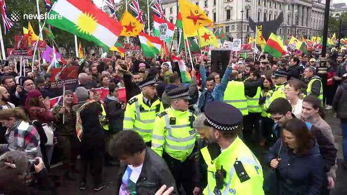 Kurds and Londoners gather to protest Turkish invasion of northern Syria