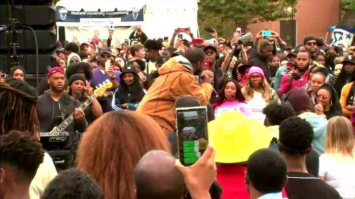 Kanye makes surprise appearance at Howard University