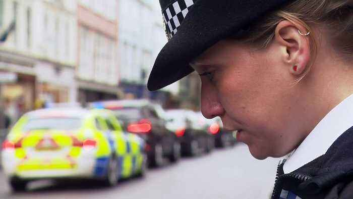 Police line the streets for the funeral of PC Andrew Harper