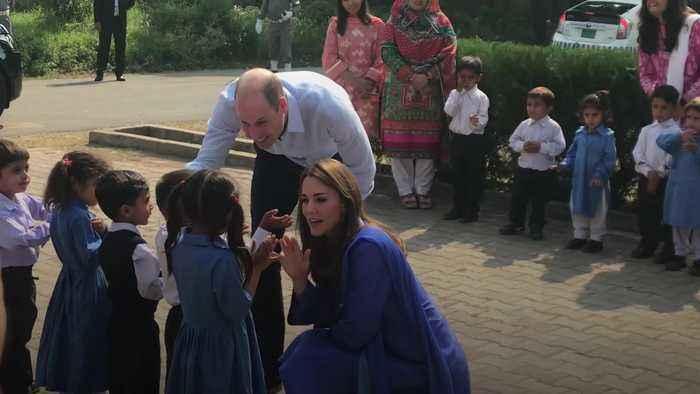 Duke and Duchess of Cambridge begin Pakistan tour with school trip