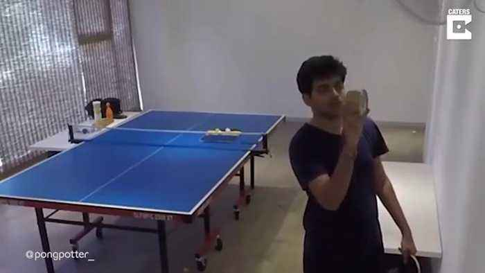 DEDICATED PING-PONG PLAYER SPENDS HOURS MASTERING AMAZING TRICK-SHOTS