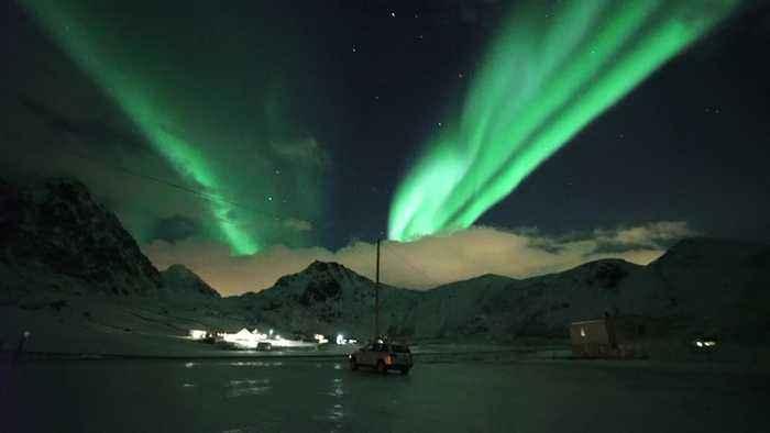 Aurora Borealis Cascades Sky in Alien-Green Light