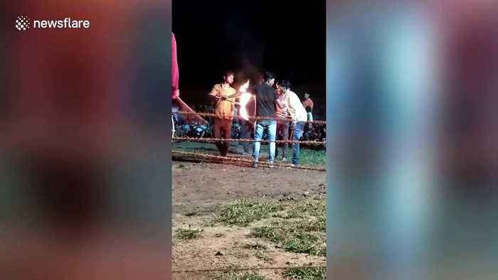 Man sustains spinal injury while jumping through burning hoop in central India
