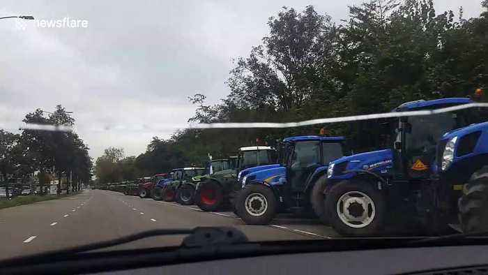 Hundreds of tractors line the streets of The Hague for Farmer's protest