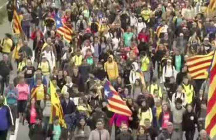 Massive separatist 'freedom' march hits Barcelona