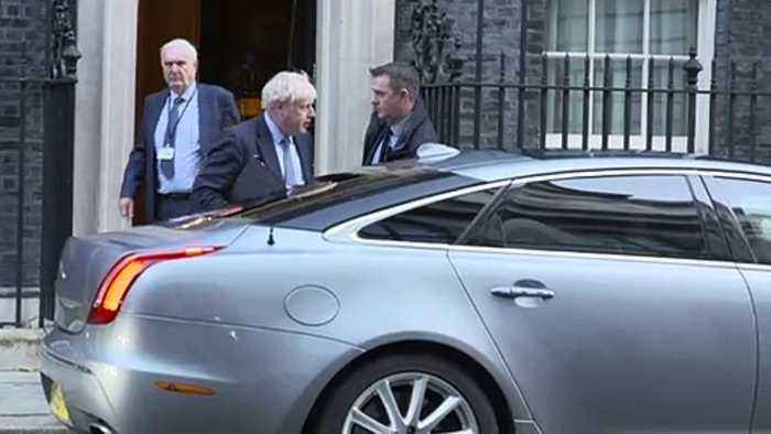 Johnson departs Downing Street ahead of crucial Brexit vote