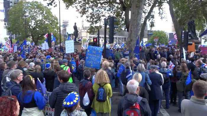People's Vote marchers sing 'Jerusalem' in Parliament Square