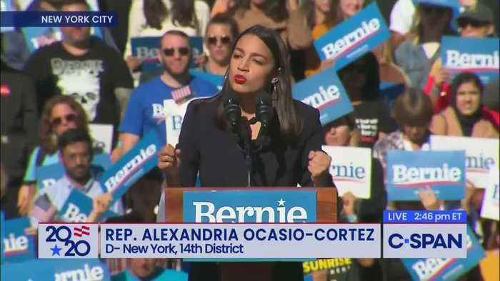 Ocasio Cortez stumps for Bernie Sanders