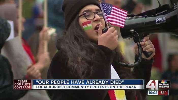 Local Kurdish community protests on the Plaza