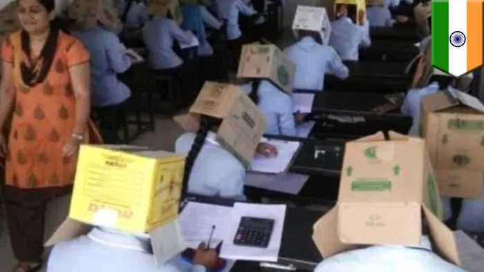 India school blasted for making students wear boxes over heads