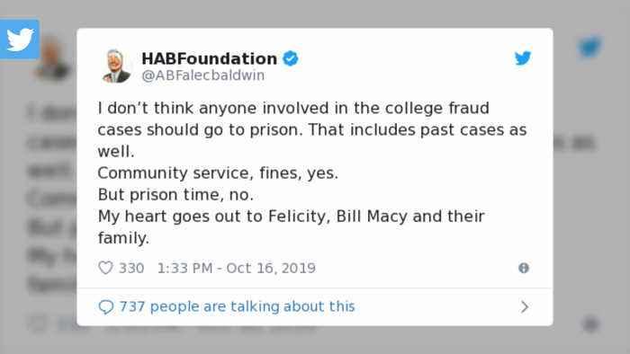 Alec Baldwin thinks Felicity Huffman shouldn't be behind bars