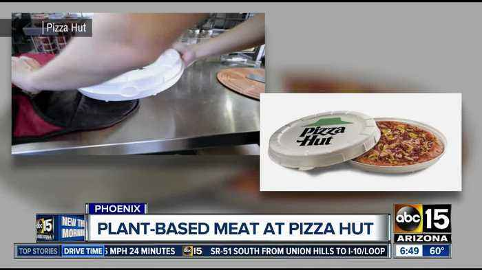 Pizza Hut serving plant-based meat in round box at Phoenix store