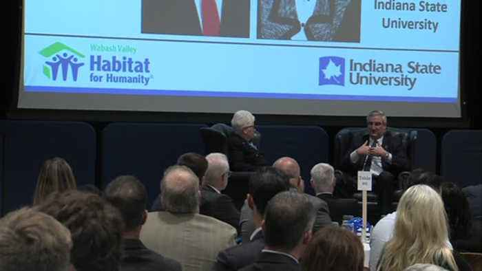 Indiana's governor makes a stop at Indiana State University