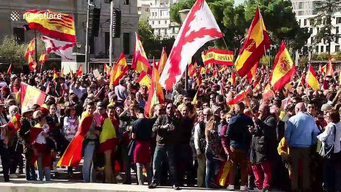 Fascist salutes and Franco flags at far-right Vox rally in Madrid