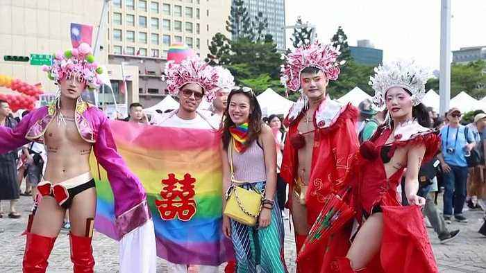 Thousands join first pride march in Taiwan since same-sex marriage was legalised