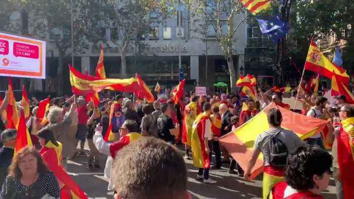 Thousands of pro-Spain supporters take to streets of Barcelona after separatist clashes