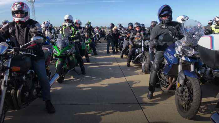 Pc Andrew Harper's widow leads thousands of motorcyclists in memorial ride